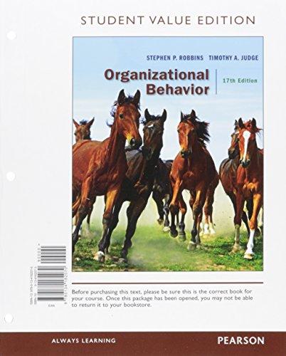 9780134182070 Organizational Behavior Student Value
