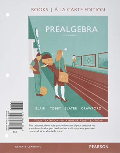 9780134187556: Prealgebra, Books a la Carte Edition (6th Edition)