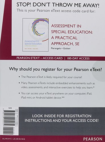 9780134189031: Assessment in Special Education: A Practical Approach, Enhanced Pearson eText - Access Card (5th Edition)