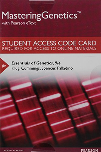 9780134189994: Mastering Genetics with Pearson eText -- Standalone Access Card -- for Essentials of Genetics (9th Edition)