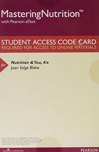 9780134209388: MasteringNutrition plus MyDietAnalysis with Pearson eText -- ValuePack Access Card -- for Nutrition & You