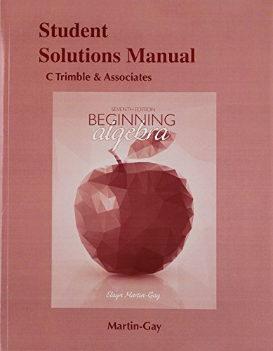 9780134216638: Student Solutions Manual for Beginning Algebra