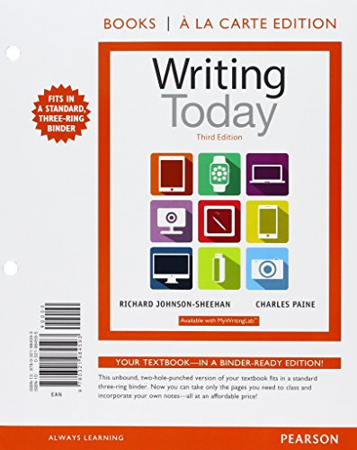 9780134217307: Writing Today, Books a la Carte Edition Plus REVEL -- Access Card Package (3rd Edition)