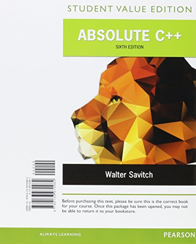 9780134227078: Absolute C++, Student Value Edition Plus MyLab Programming with Pearson eText -- Access Card Package (6th Edition)