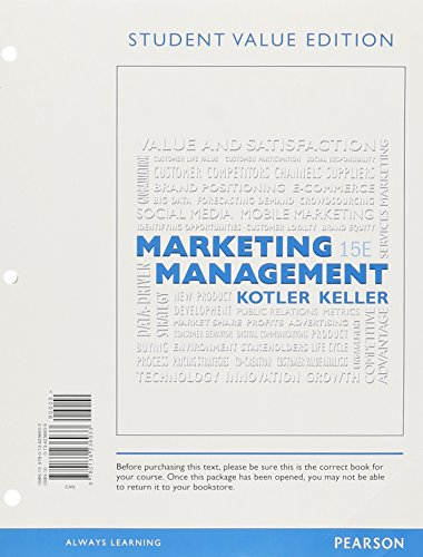 9780134236933: Marketing Management, Student Value Edition (15th Edition)