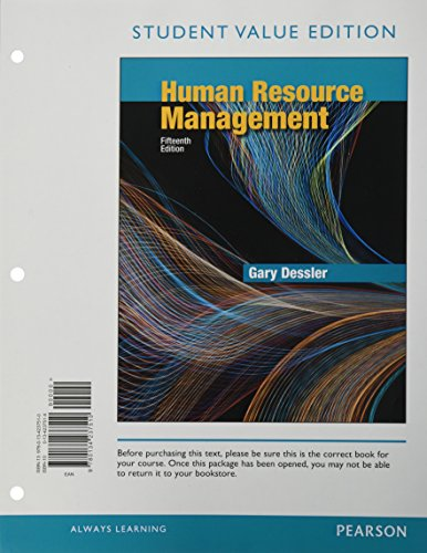 Human Resource Management, Student Value Edition (15th: Dessler, Gary