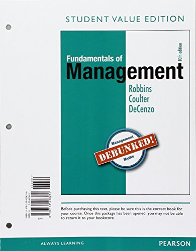 9780134238289: Fundamentals of Management: Essential Concepts and Applications, Student Value Edition (10th Edition) - Standalone book