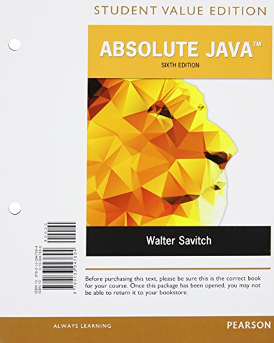 9780134243962: Absolute Java, Student Value Edition Plus MyProgrammingLab with Pearson eText -- Access Card Package (6th Edition)