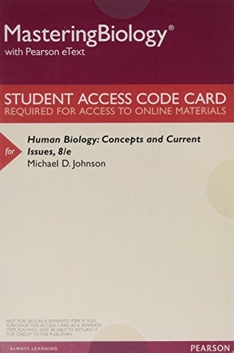 9780134254906: MasteringBiology with Pearson eText -- ValuePack Access Card -- for Human Biology: Concepts and Current Issues