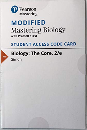 9780134287898: Modified MasteringBiology with Pearson eText -- ValuePack Access Card -- for Biology: The Core