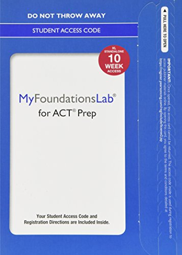 9780134308494: MyLab Foundational Skills for ACT Prep without Pearson eText--Standalone Access Card--10 weeks (My Foundations Lab)