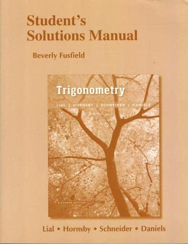9780134310213: Student's Solutions Manual for Trigonometry