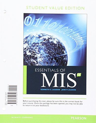 9780134319629: Essentials of MIS, Student Value Edition (12th Edition)