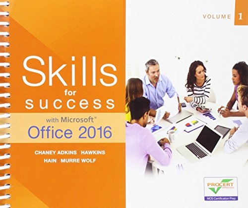 9780134320786: Skills for Success with Microsoft Office 2016 Volume 1 (Skills for Success for Office 2016 Series)