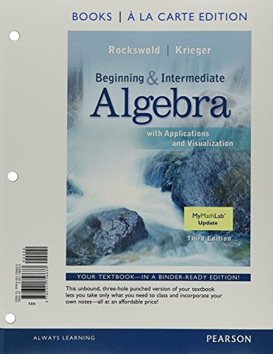 9780134325859: Beginning and Intermediate Algebra with Applications & Visualization, Books a la Carte Edition, MyLab Math -- Valuepack Access Card, Worksheets, MyLab Math Update Stricker (3rd Edition)