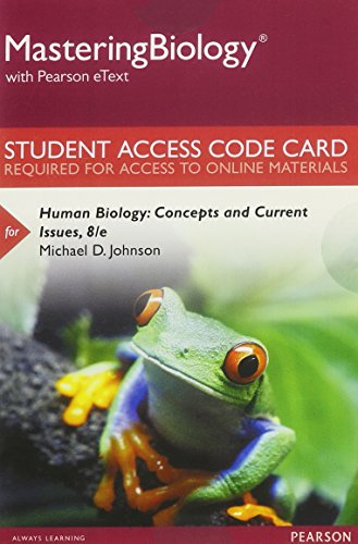 9780134326733: MasteringBiology with Pearson eText -- Standalone Access Card -- for Human Biology: Concepts and Current Issues (8th Edition)