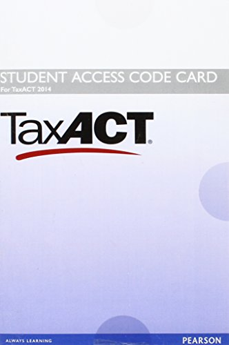 9780134329833: TaxACT 2014 Access Card for Prentice Hall's Federal Taxation 2016 Comprehensive
