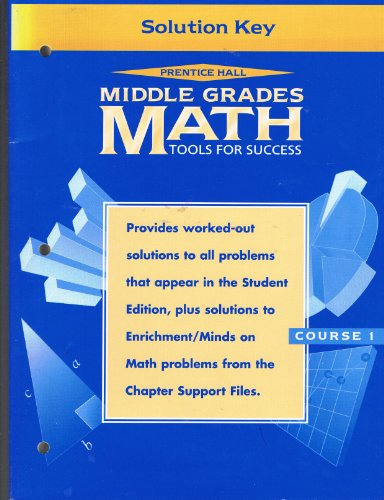 9780134354231: Middle Grades Math Tools for Success Solution Key (Course 1)