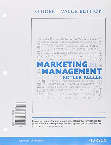9780134361277: Marketing Management, Student Value Edition Plus Mymarketinglab with Pearson Etext -- Access Card Package