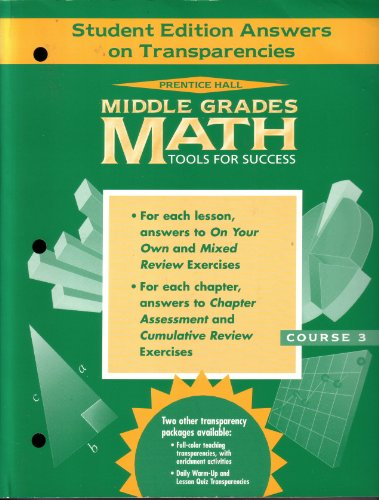9780134367705: Prentice Hall Middle Grades Math Tools for Success: Student Edition Answers on Transparencies