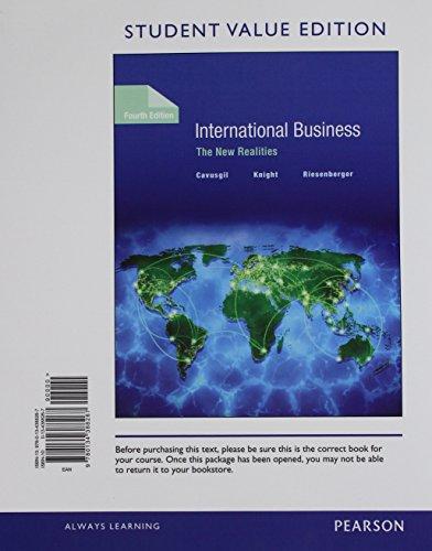 International Business: The New Realities, Student Value: Cavusgil, S. Tamer;
