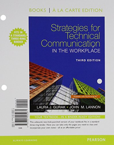 9780134390291: Strategies for Technical Communication in the Workplace, Books a la Carte Edition Plus MyWritingLab with Pearson eText -- Access Card Package (3rd Edition)