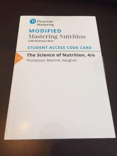 9780134393445: Modified Mastering Nutrition with MyDietAnalysis with Pearson eText - ValuePack Access Card - for The Science of Nutrition