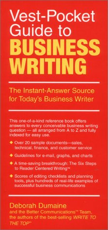 9780134403557: Vest-Pocket Guide to Business Writing: The Instant-Answer Source for Today's Business Writer