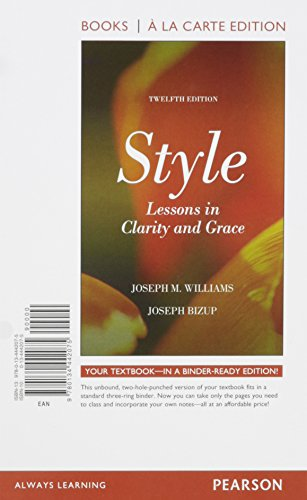 9780134442075: Style: Lessons in Clarity and Grace, Books a la Carte Edition (12th Edition)