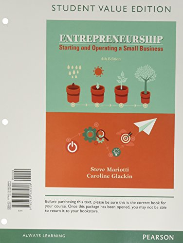 9780134471846: Entrepreneurship: Starting and Operating A Small Business, Student Value Edition Plus MyEntrepreneurshipLab with Pearson eText -- Access Card Package (4th Edition)