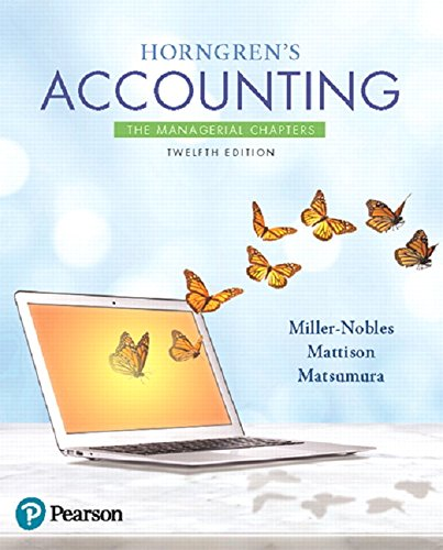 9780134486826: Horngren's Accounting: The Managerial Chapters (12th Edition)
