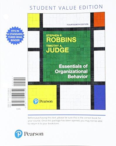 9780134524849 Essentials Of Organizational Behavior