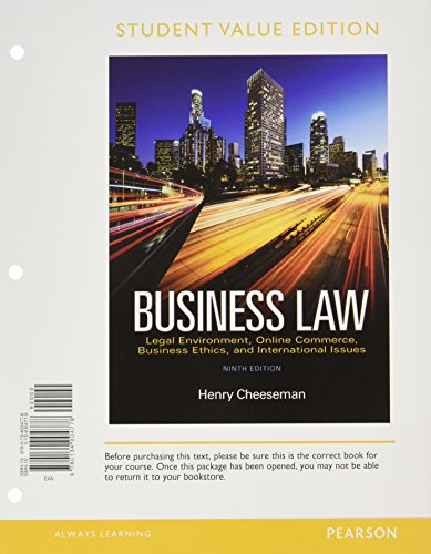 9780134528793: Business Law, Student Value Edition Plus MyBusinessLawLab with Pearson eText -- Access Card Package (1-semester) (9th Edition)