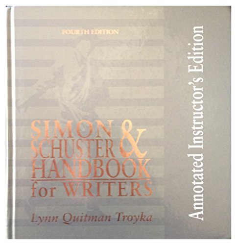 Simon & SSchuster Handbook for Writers Annotated Instructor's Edition