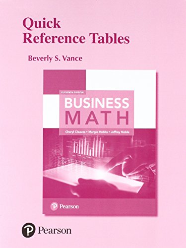 Quick Reference Tables for Business Math: Cleaves, Cheryl; Hobbs,