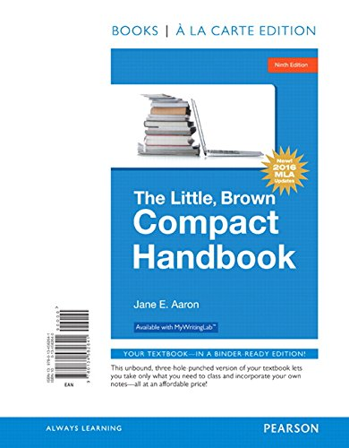 The Little, Brown Compact Handbook, Books A La Carte Edition?, Mla Update Edition