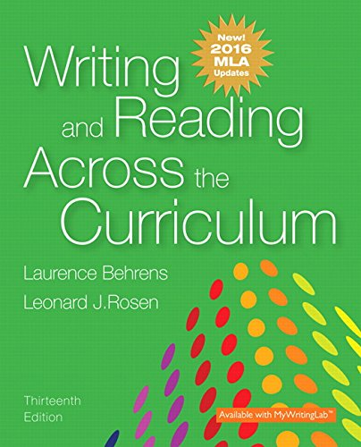 9780134586328: Writing and Reading Across the Curriculum, MLA Update Edition (13th Edition)
