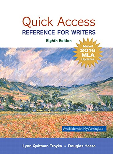 9780134701325: Quick Access: Reference for Writers, MLA Update (8th Edition)