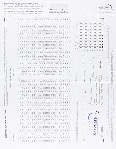 9780134719283 ServSafe Exam Answer Sheet For Pencil Paper