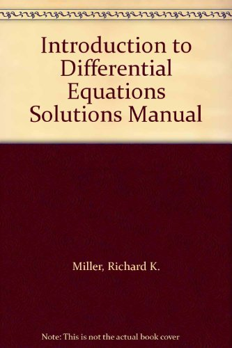 9780134810119: Introduction to Differential Equations Solutions Manual