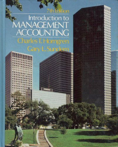 Introduction to management accounting (Prentice-Hall series in: Charles T Horngren