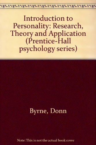 9780134915975: Introduction to Personality: Research, Theory and Application (Prentice-Hall psychology series)