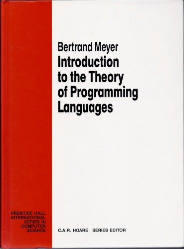 9780134985107: Introduction to the Theory of Programming Language (Prentice Hall International Series in Computing Science)