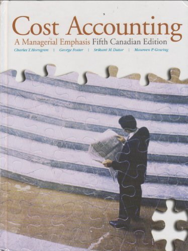 9780135004937: Cost Accounting A Managerial Emphasis - Fifth Canadian Edition