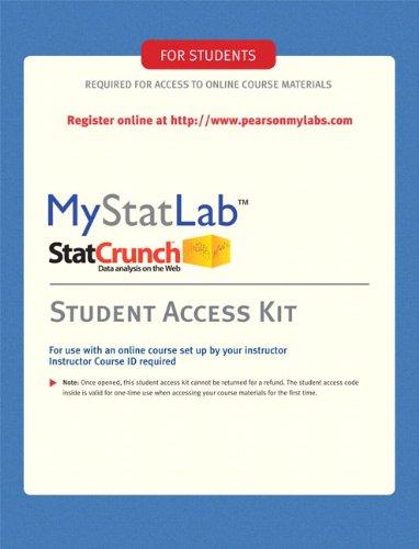 9780135027028: MyMathLab/MyStatLab -- Standalone Access Kit