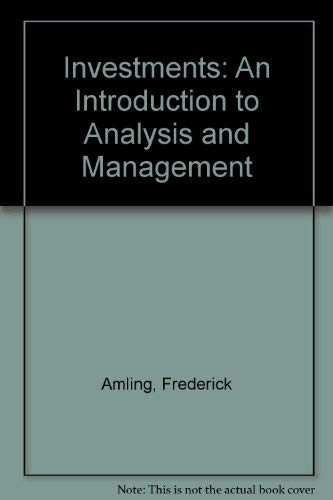 9780135043240: Investments: An Introduction to Analysis and Management