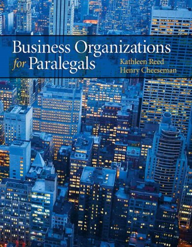 Business Organizations for Paralegals: Reed, Kathleen; Cheeseman,