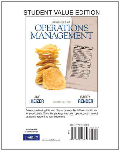 9780135106839: Principles of Operations Management, Student Value Edition (8th Edition)