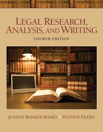 9780135109441: Legal Research, Analysis, and Writing (4th Edition)