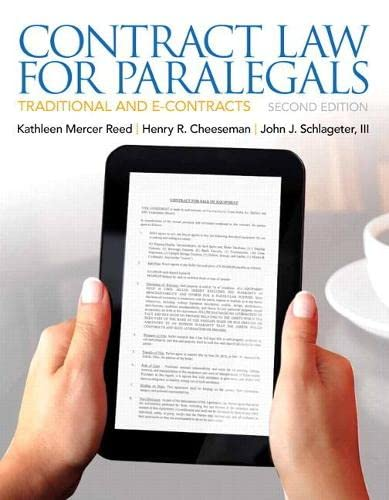 Contract Law for Paralegals (2nd Edition): Reed, Kathleen; Cheeseman,